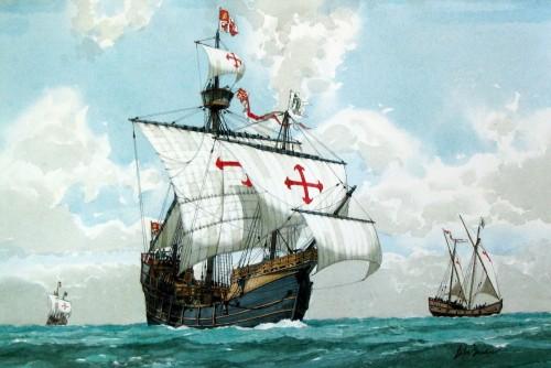 Ветроходен кораб с червен кръст върху белите си платна